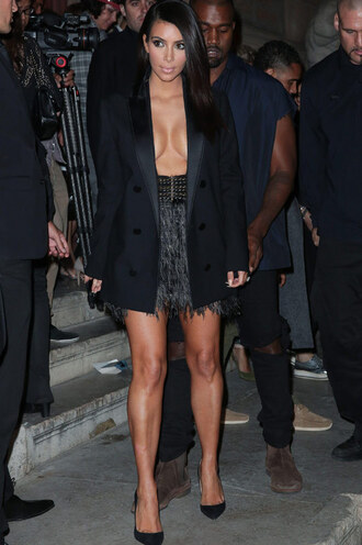 skirt kim kardashian belt fringe black blazer high waisted skirt feathers