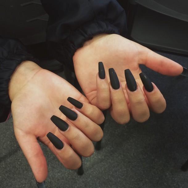nail polish, black, matte nail polish, dark nail polish - Wheretoget