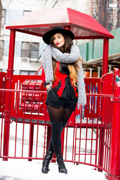 do the hotpants blogger make-up jacket shorts socks scarf hat shoes