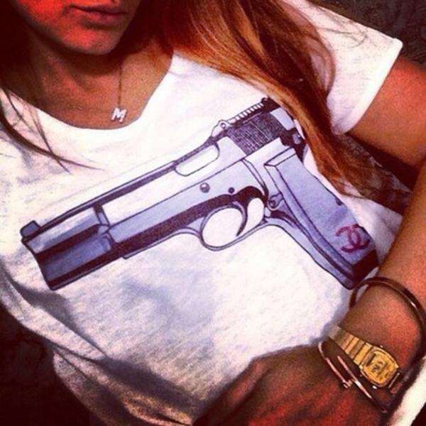 shirt gun print t-shirt tshirt gun chanel print white