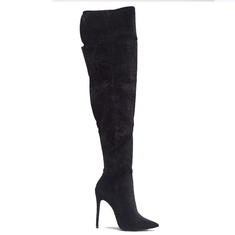 MIRA Thigh High Boot in Black Faux Suede at FLYJANE