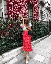 skirt,red skirt,midi skirt,polka dots skirt,top,shoes,slide shoes,sunglasses