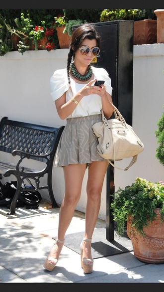 skirt grey pattern grey skirt necklace aztec style necklace wedges sunglasses braid kardashians kourtney kardashian bag shorts shoes blouse white shirt white white blouse pretty fancy shirt cute top nice shirt gray skirt mini skirt nude bag