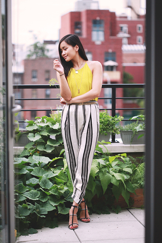 jess loves fred blogger top halter neck yellow stripes pants sandals striped pants