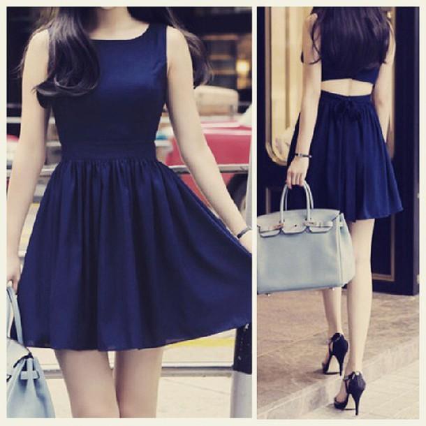 dress blue dress open back dresses