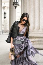 dress,grey dress,tumblr,ruffle,ruffle dress,see through,jacket,black jacket,black leather jacket,leather jacket,bag,nude bag,sunglasses,belted dress