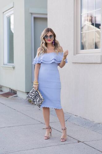 suburban faux-pas blogger dress sunglasses bag jewels shoes off the shoulder dress blue dress clutch sandals
