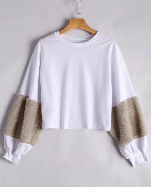 sweater girly white crop tops crop cropped cropped sweater fur