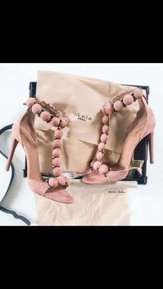 shoes heels cotton pink high heel sandals t-strap heels nude
