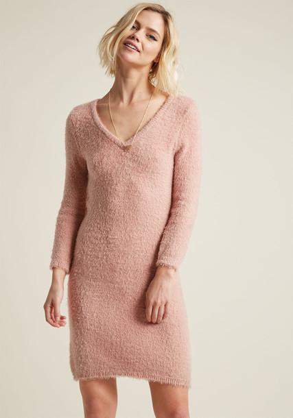 MCJH408351 dress sweater dress fluffy warm knit pink