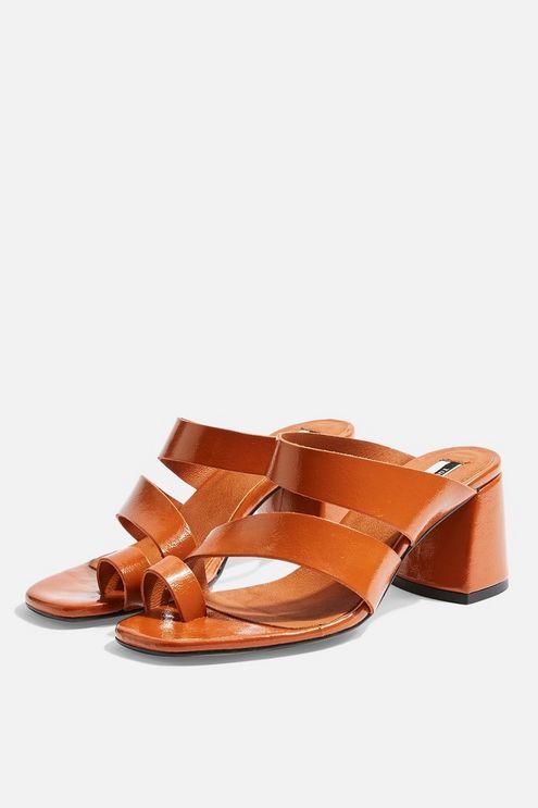 Reya Vegan Brown High Toe Loop Heels - Toffee