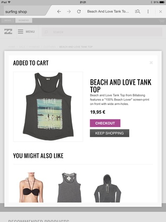 top beach sea surf tank top