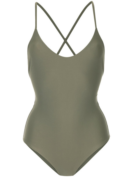Matteau - cross back swimsuit - women - Nylon/Spandex/Elastane - 1, Green, Nylon/Spandex/Elastane
