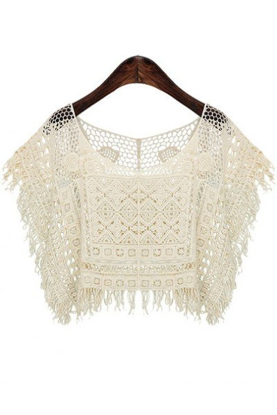 KCLOTH Beige Short Sleeve Hollow Tassel Top