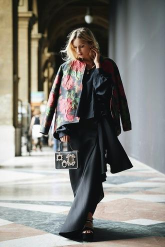 en vogue coop blogger long skirt roses