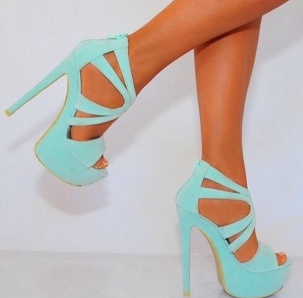 shoes aqua heels