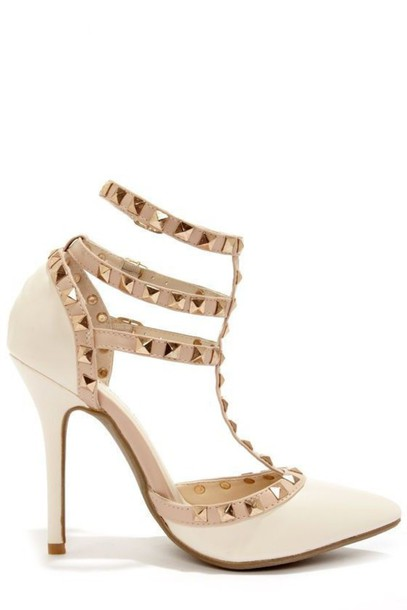 Shoes: ivory heels, stilettos, studded heels, strappy heels, ankle ...