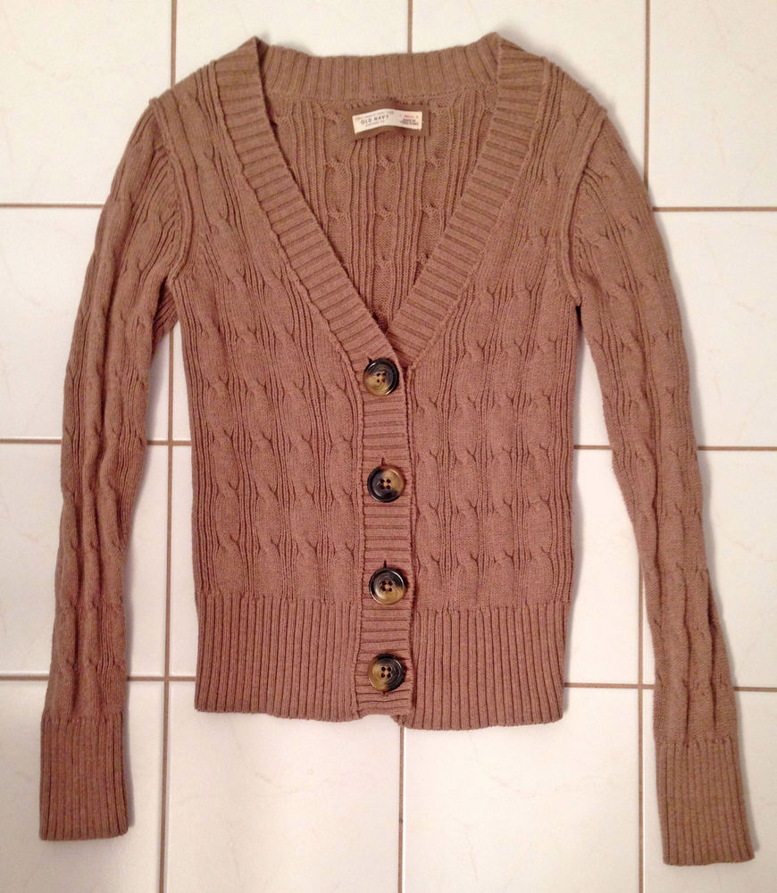 Navy Womens Brown Knit Cardigan Sweater Buttons Size S | eBay