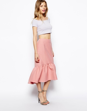 ASOS | ASOS Peplum Hem Pencil Skirt In Texture at ASOS