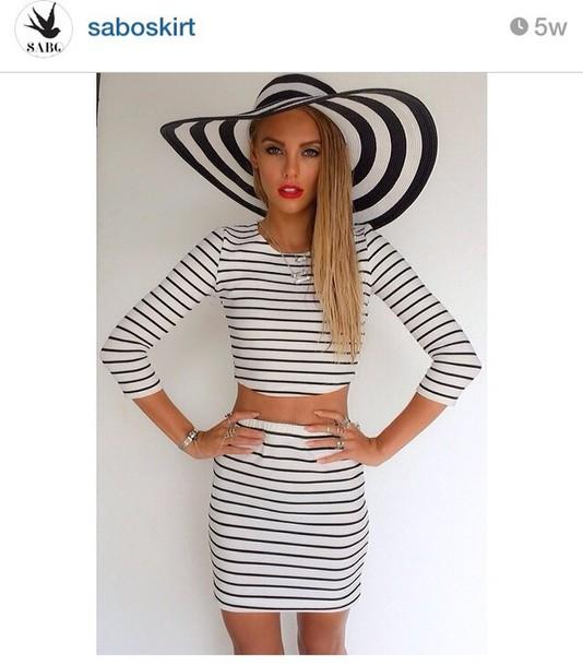 hat black and white broad rim hat wide hat sabo skirt