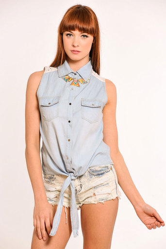 Fern Denim & Broderie Anglaise Tie Front Shirt - Pop Couture