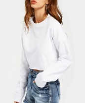 sweater,girly,white,crop tops,crop,cropped,cropped sweater,sweatshirt,jumper