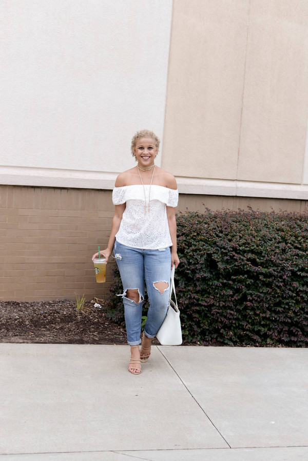fashionably lo blogger top jeans shoes bag white off shoulder top white lace top lace top eyelet top eyelet detail off the shoulder off the shoulder top ruffle ruffled top blue jeans ripped jeans white bag tote bag sandals sandal heels high heel sandals nude sandals spring outfits necklace