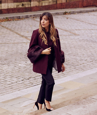 coat burgundy burgundy coat pants black pants pumps pointed toe pumps embellished fur coat classy