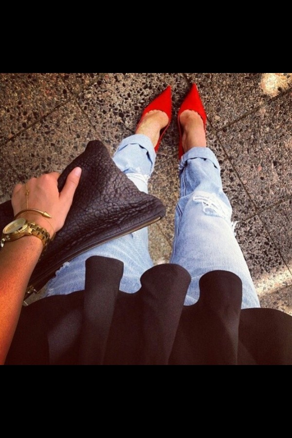shoes red red high heels boyfriend jeans jeans denim bag jewels