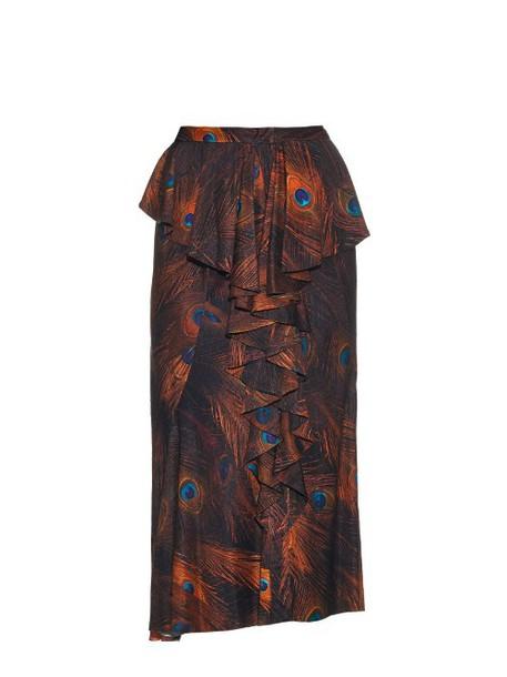 skirt vintage print silk