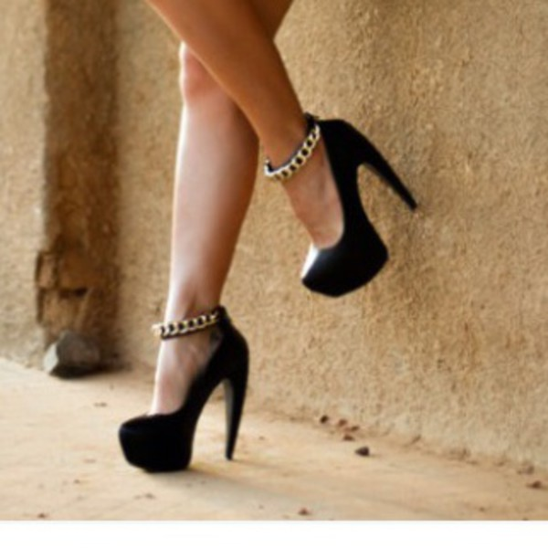 shoes gold chain black suade high heels