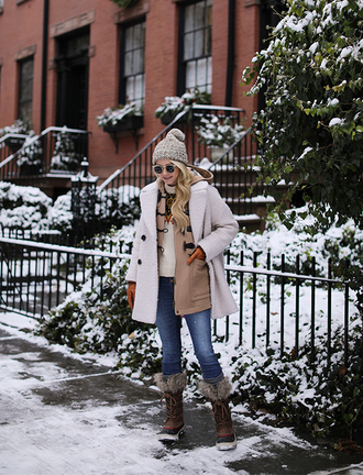 coat tumblr white coat fuzzy coat teddy bear coat duffle coat beanie denim jeans blue jeans boots winter outfits winter boots