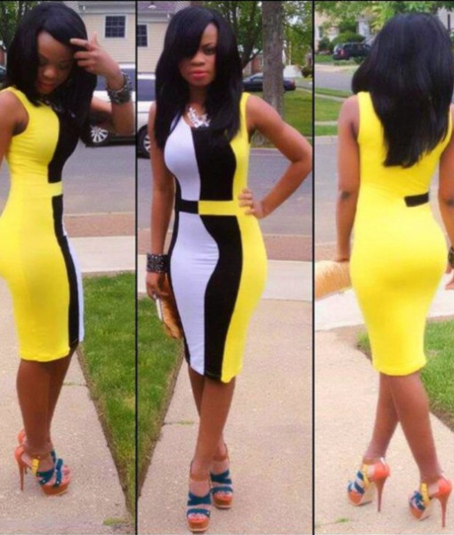 2014 New Bandage Dress Women Sleeveless Black White Yellow Patchwork Vintage Bodycon Pencil Dress Casual Summer Dress TY232   Amazing Shoes UK