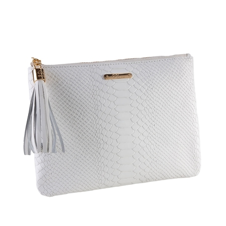 White All in One Bag | Embossed Python Leather | GiGi New York