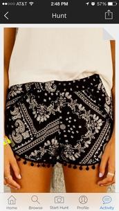 shorts,printed shorts,black and white shorts,cute,love these,silky,black shorts,pom pom shorts,bandana print,festival shorts,boho shorts