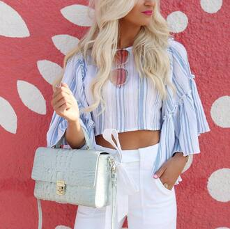 top tumblr crop tops stripes striped top pants white pants bag blue bag sunglasses