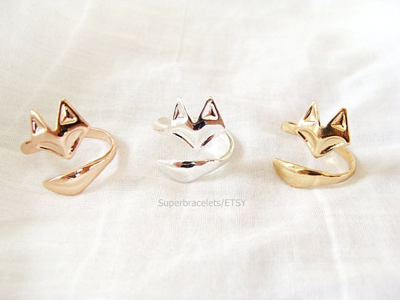 Adjustable Fox Ring animal ring cute ring Silver by Superbracelets