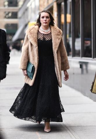 dress nyfw 2017 green bag fashion week 2017 fashion week streetstyle black dress maxi dress long dress black lace dress lace dress see through see through dress coat fur coat camel camel coat bag pumps pointed toe pumps high heel pumps nude heels necklace pearl