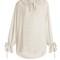 Ruffled-collar silk crepe de chine blouse