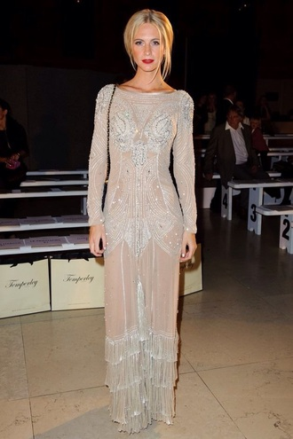 dress nude dress beaded long sleeves fitted dress