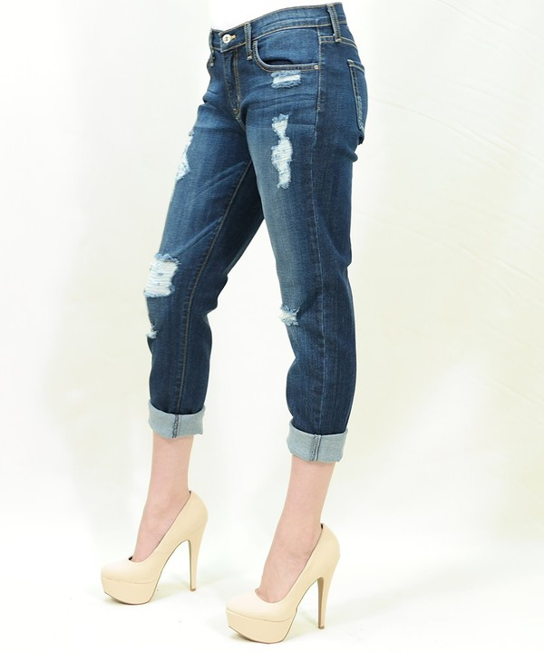 Fitted distressed boyfriend jeans Premium denim by Just BLACK label