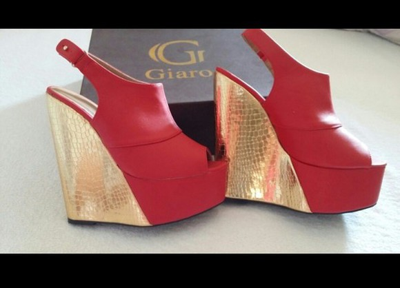 shoes wedges giaro red gold