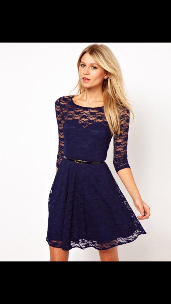 Navy blue lace dress size 18