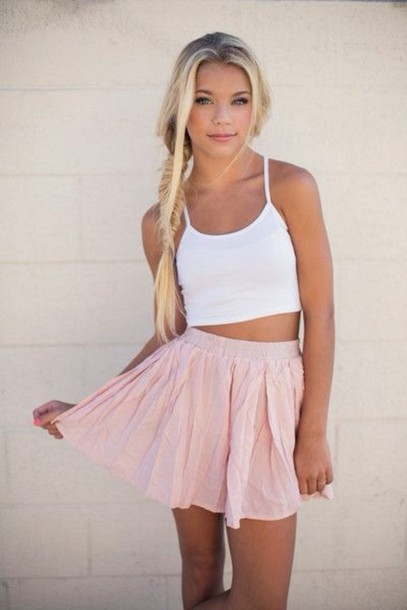 top skirt style fashion girly crop tops blouse pink skirt shirt white top dressy tops white crop tops spring pink white tank top skater skirt circle skirt fall outfits tank top baby pink light pink flowy cute summer chic boho