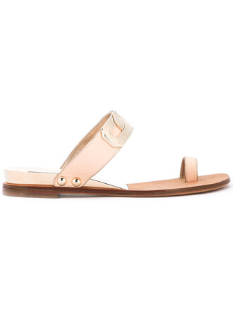 metal women sandals leather nude shoes