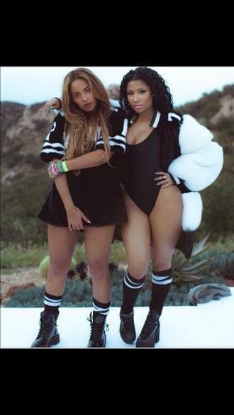 shoes beyonce nicki minaj celebrity style fashion trendy one piece swimsuit bodysuit boots jersey urban dope swimwear slay slayful fur coat jacket dope trill black and white nicki minaj style dress coat fluffy celeb cute socks nike adidas swag t-shirt swimwear beyoncé shirt shirt clothes beyoncé faux fur coat black swimwear