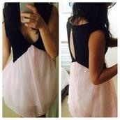 dress,pink,pink dress,black,little black dress,cut-out,cut-out dress,back cutout,v neck dress,plunge v neck,mabell