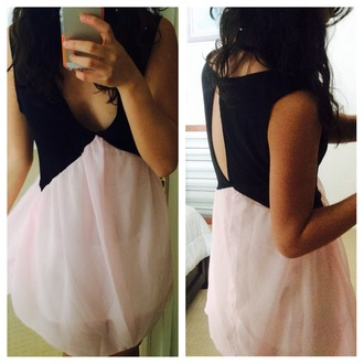 dress pink pink dress black little black dress cut-out cut-out dress back cutout v neck dress plunge v neck mabell