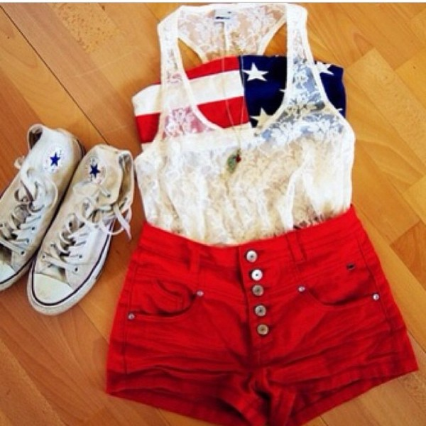 shirt blouse shorts tank top underwear shoes