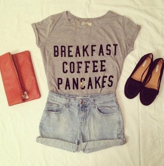 breakfast pancakes t-shirt coffee food fashion graphic tee hipster style shirt coffe shorts bag grey purse outfit breakfast cofee pancakes breakfast cofee pancakes shirt cute girly nice idea outfits accessories denim Shoes Necklace Shorts shoes love clothes necklace gray t-shirts breakfast coffee pancakes shirt gray shirt text top great shirt panaches breakfast club shirt shirt shorts summerhype summerlife top crock top